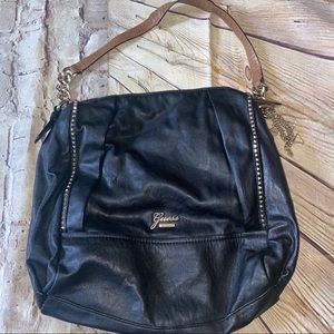 Guess faux leather bag purse tote black gold charm